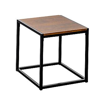 Contemporary Industrial Bedside Table - Dark Wood / Steel Frame - 45 x 45 x 46cm