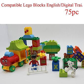 Large Particles Numbers Train Building Blocks Bricks Educational Baby City Toys Duplocity Toys For Children Gifts