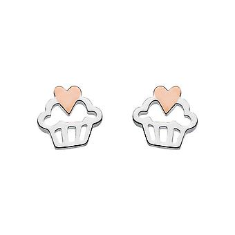 Dew Silver Dinky Afternoon Tea Cupcake Rose Gold Plate Heart Earrings 4476RG015
