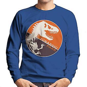 Jurassic Park T Rex Orange Background Skeleton Silhouette Men's Sweatshirt