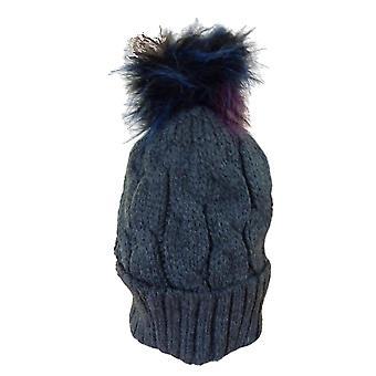 Coloured Faux Fur Cable Twist Bobble Beanie Hat | Grey