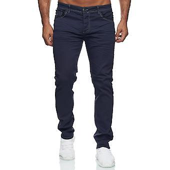 Men Slim Fit Jeans Stretch Basic Used Look Button-Fly Five-Pocket Design Details
