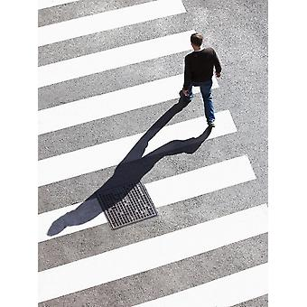Pedestrain Crossing the Street on Zebra Crossing Poster Print