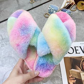Women Faux Fur Warm Flat Shoes, Female Slip-on Home Furry Slippers