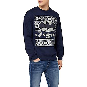 Batman unisexe adultes Fair Isle logo Crewneck Sweatshirt