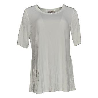 LOGO By Lori Goldstein Women's Top 3/4 Sleeve Swing White A379902