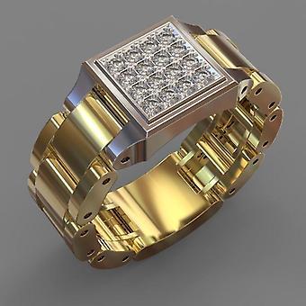 טבעת מצופה זהב 18 קראט לגברים עם זירקון