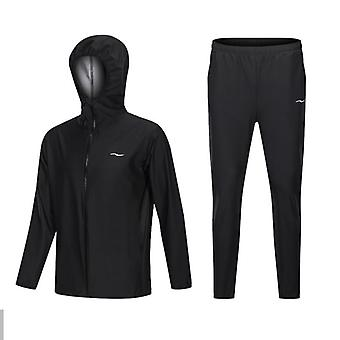 Sauna Suit Men Zipper Hoodies Gym Clothing Set For Weight Loss Running/fitness