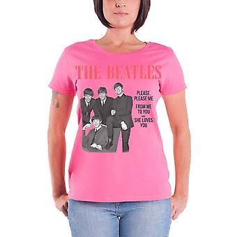 The Beatles T paita ota miellyttää minua virallinen naisten uusi vaaleanpunainen laiha sovi