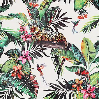 Animal Jungle Tropical Wallpaper White / Multi Arthouse 908505