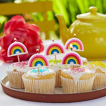 Rainbow Shaped Candles | Birthday Party Cake Decoration Topper Picks x5