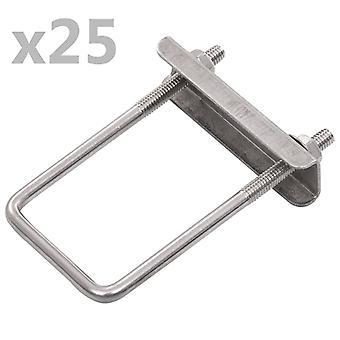 vidaXL U-bracket for fence posts 25 sets 60 x 40 mm