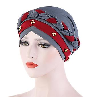 Two-color Braid Hijab Caps Spring And Autumn