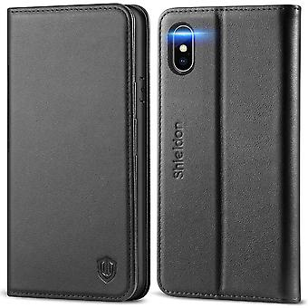 SHIELDON iPhone XS Case, iPhone XS Genuine Leather Wallet Case with[RFID Blocking]