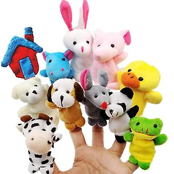 Jzk 11 animal finger puppet set small plush toy animal hand puppet for children kids party favours b