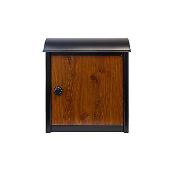 Buzón montado en la pared de Leece en negro con puerta de acabado de madera y cerradura combinada
