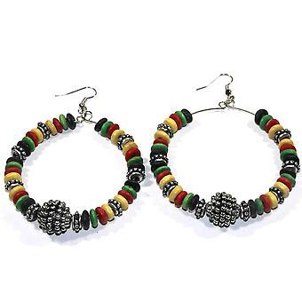 Rasta Style, Wooden Hoop Earrings