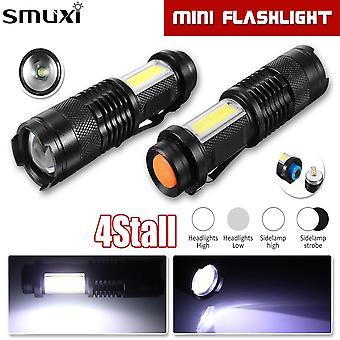 Mini T6 COB LED Flashlight Torch USB Lamp Zoomable Penlight 14500 4 Mode
