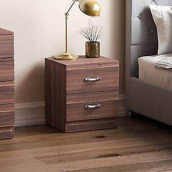 Riano 2 Drawer Bedside Chest Cabinet, Walnut