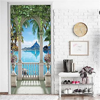 Island View Door Mural Self-adhesive Waterproof Vinyl Poster
