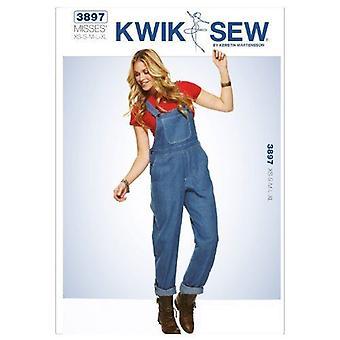 Kwik Sew Sewing Pattern 3897 Misses Overalls Size XS-S-M-L-XL