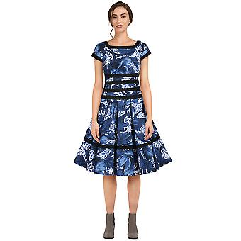 Chic Star Plus Size Trimmer Retro kjole i blåt blad