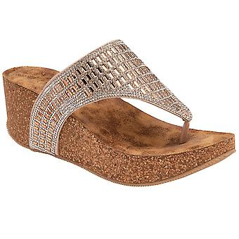 Lotus Kalene Womens Toe Post Wedge Sandals
