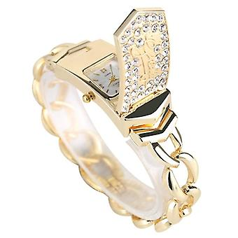 Embed Crystal Diamond  Silver Gold Square Flap Cover, Women's Bracelet Watch