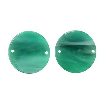 Zola Elements Acetate Connector Link, Coin 20mm, 2 Pieces, Emerald Marbled