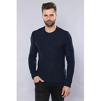 Patterned circle neck navy sweater   wessi