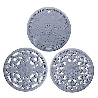 3pcs Exquisite Hollow Carving Heat Resistant Insulation Placemat Non Slip Dining Table Mat(gray)
