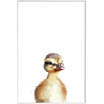 JUNIQE Print - Little Duck - Ducks Poster in Yellow & White