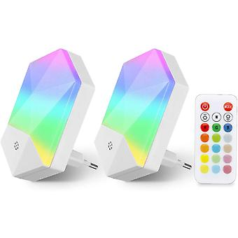 2 Pack Night Light Led Children Night Lamp Baby Plug And Play With Remote Control 16 Colors Adjustable