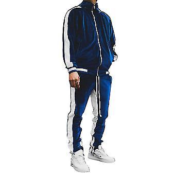 Xl μπλε υψηλής ποιότητας αντίθεση χρώμα casual χρυσό βελούδινο ανδρικό σακάκι κοστούμι για το φθινόπωρο και το χειμώνα x4375
