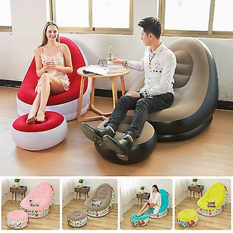 Draagbare sofa stoel vrije tijd met voetsteun opblaasbare kruk outdoor meubels comfortabele flocking enkele sofa stoel stapel coating