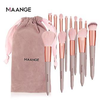 فرشاة ماكياج الوردي مع الإسفنج مصغرة مجموعات ظلال العيون تشكل أدوات مجموعة| تطبيق ظلال العيون