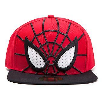 Marvel Cosmics - Spider-man 3D Face Mask with Mesh Eyes Snapback Baseball Cap (Red/Black)