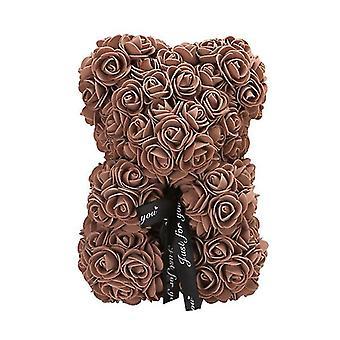 Valentinstag Geschenk 25 cm Rose Bär Geburtstagsgeschenk£¬ Memory Day Geschenk Teddybär(Kaffee)