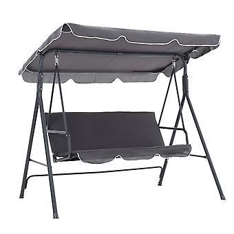 Garten Metall Schaukel Stuhl 3 Sitzer Verstellbare Hängematte - Grau