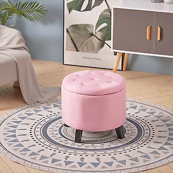 Pink Linen Fabric Storage Footstool