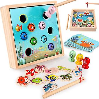 Children Wooden Toys Magnetic Games Fishing Toy Game Kids 3D Fish Baby Kids Educational Toys