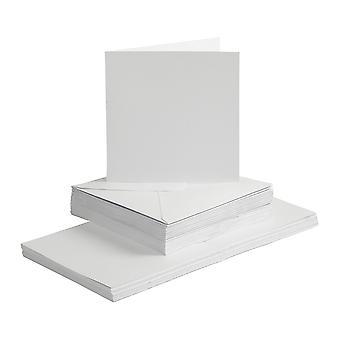 50 branco 15cm cartões e envelopes quadrados para o cartão que faz ofícios
