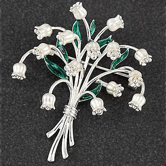 Lily Of The Valley Silver Plated Brooch - Gift Boxed