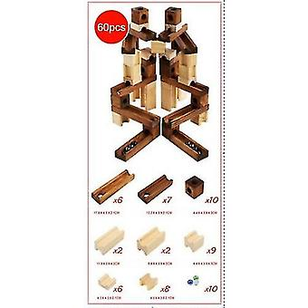 Children Wooden Marble Runs Block Toy With Glass Beads Kids Building