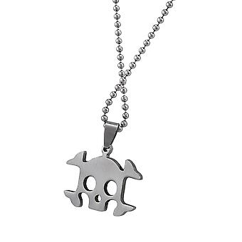 Stainless Steel Skull and Crossbones Pendant on Ball Chain 25 In.