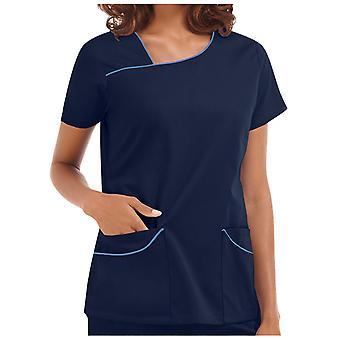 Nová dámska blúzka s krátkym rukávom V-neck Pocket Care Pracovná uniforma