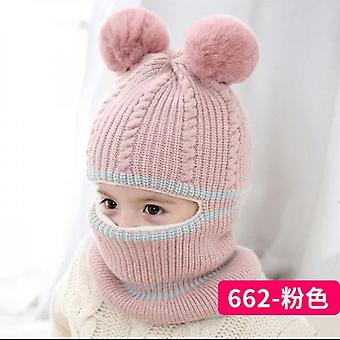 Knitted Double Ball One-piece Warm Hat