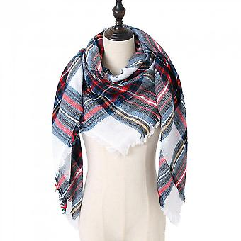 Womens Warm Scarf Square Shawls Infinity Scarves Stripe Plaid Rough Surface1#