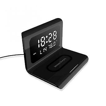 3 w 1 Pulpit LED Cyfrowy budzik z bezprzewodową ładowarką do telefonu Qi Szybki czas ładowania Temperatura