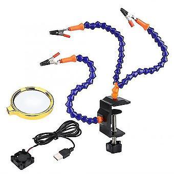 Stazione di saldatura flessibile a 3 bracci per rc fpv racing drone rc tool diy per la riparazione con saldatura a ventola